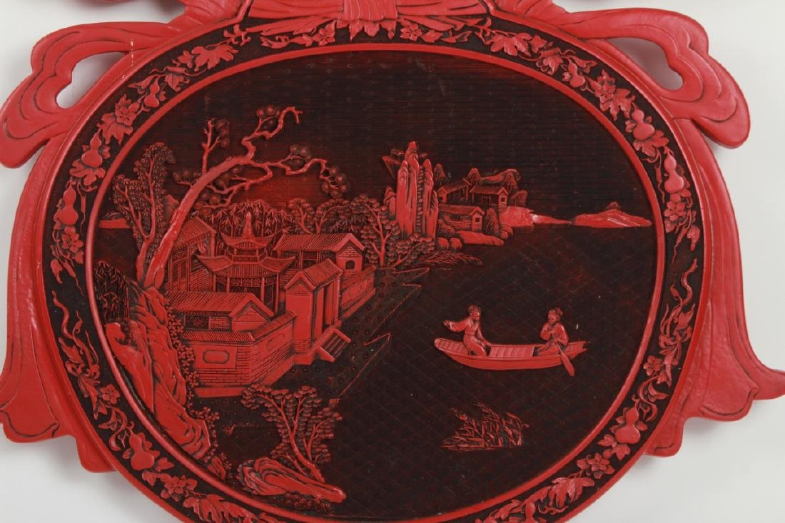 Large Chinese Hand Carved Faux Cinnabar Plaque - 4