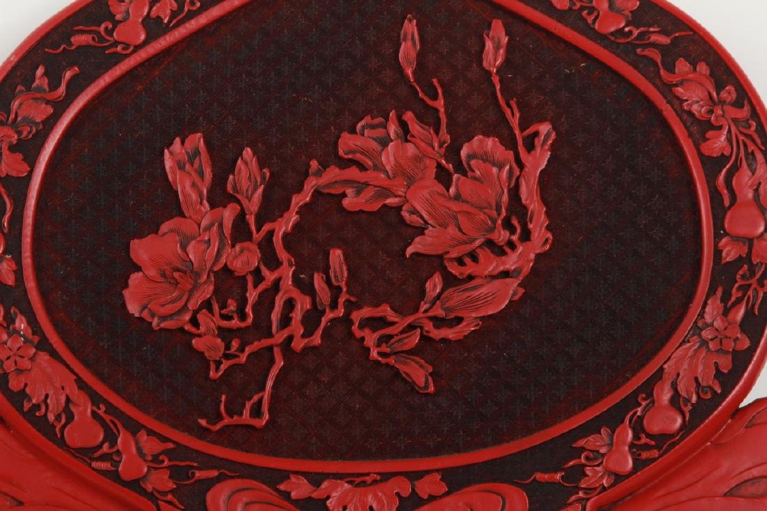 Large Chinese Hand Carved Faux Cinnabar Plaque - 5