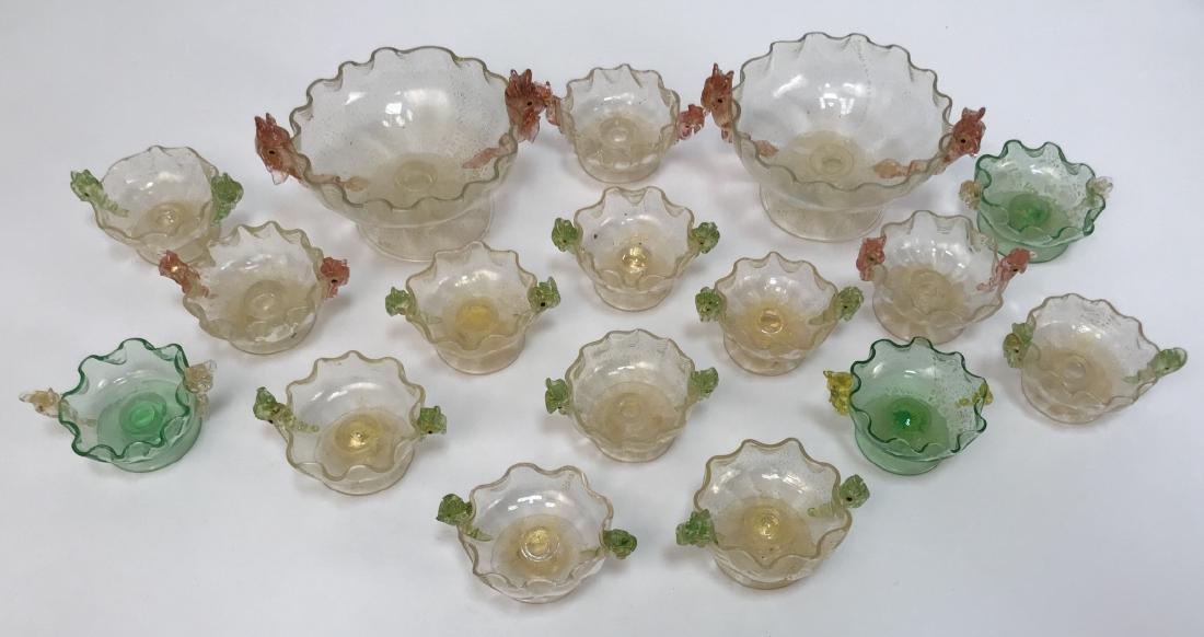 17 Piece Art Glass Caviar / Compote Service