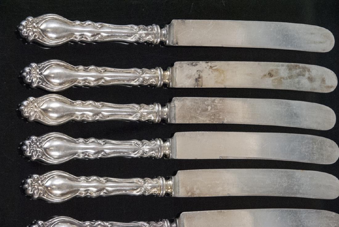 Set Antique Art Nouveau Style Silver Plate Knives - 5