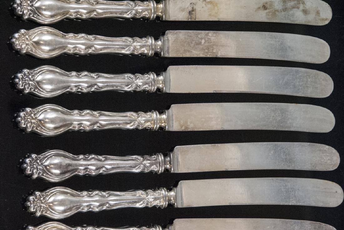 Set Antique Art Nouveau Style Silver Plate Knives - 6