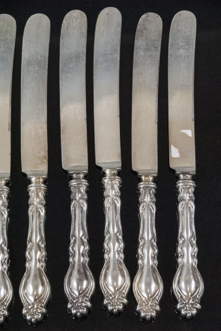 Set Antique Art Nouveau Style Silver Plate Knives - 7