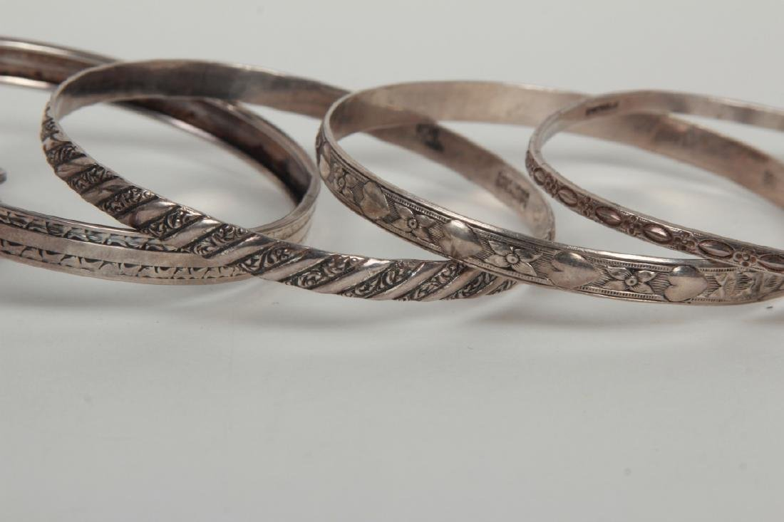 Collection Sterling Silver Bangle & Cuff Bracelets - 3
