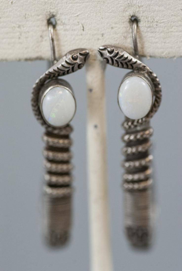 Vintage Sterling & Cabochon Opal Snake Earrings
