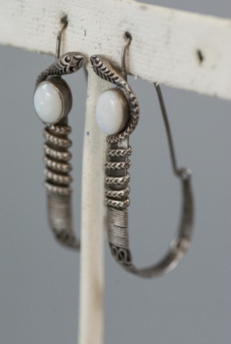 Vintage Sterling & Cabochon Opal Snake Earrings - 3