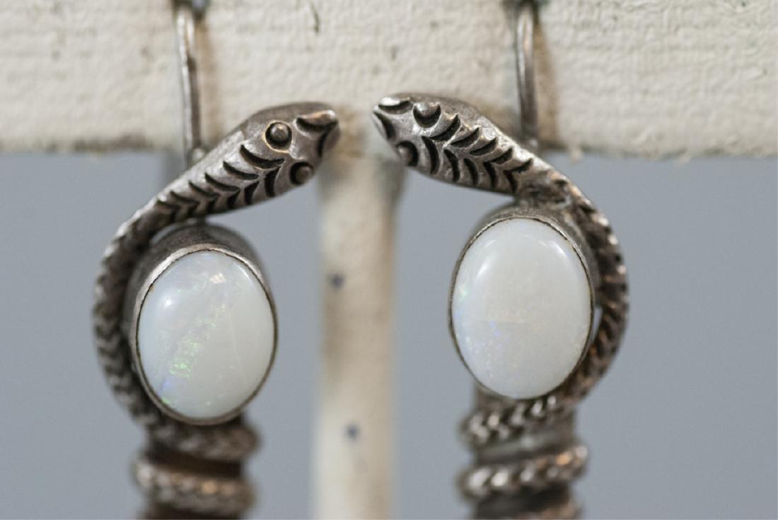 Vintage Sterling & Cabochon Opal Snake Earrings - 4
