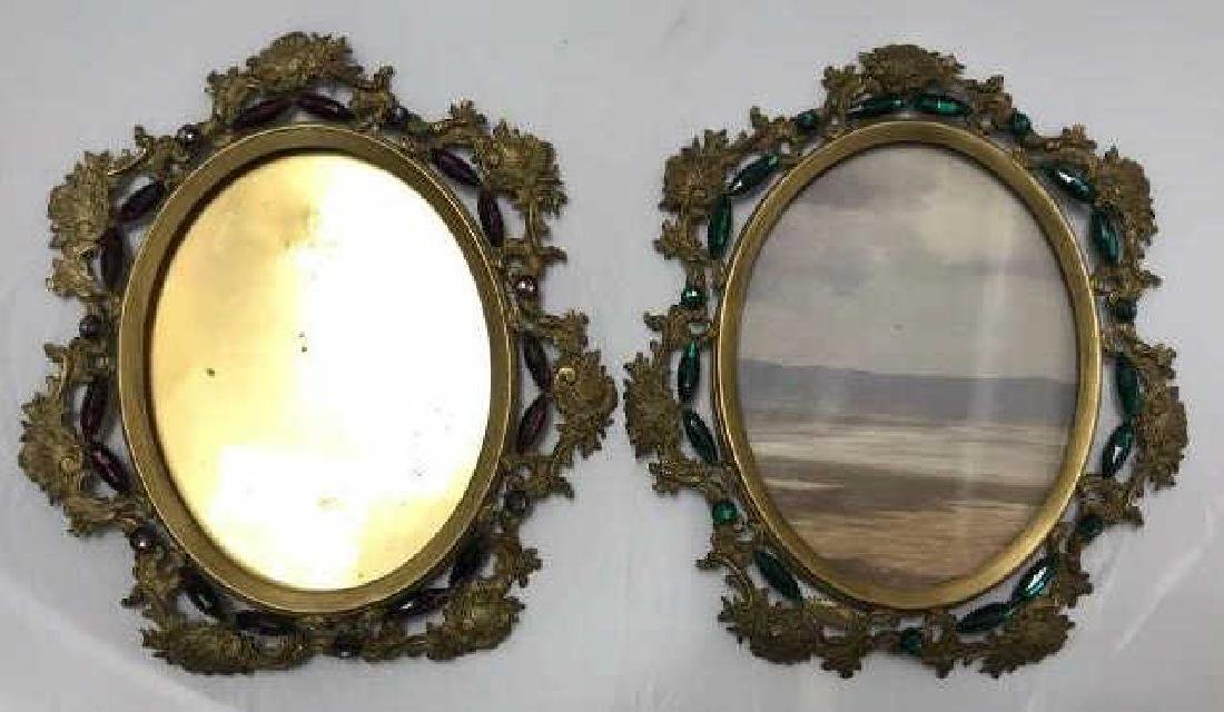 Pair of Antique Jeweled Ormolu Picture Frames