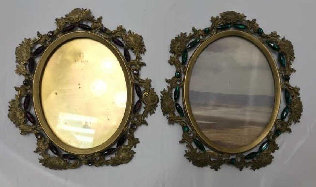 Pair of Antique Jeweled Ormolu Picture Frames - 2