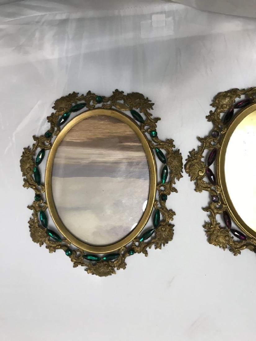 Pair of Antique Jeweled Ormolu Picture Frames - 3