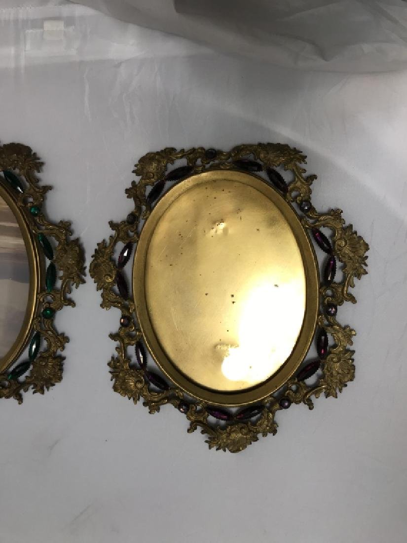 Pair of Antique Jeweled Ormolu Picture Frames - 4