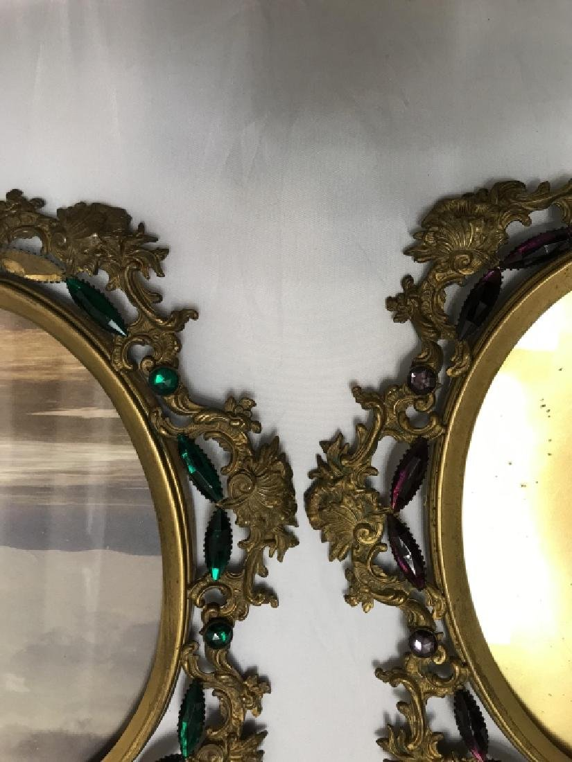 Pair of Antique Jeweled Ormolu Picture Frames - 5