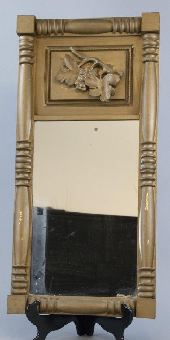 Vintage Hand Carved Wood Mirror With Grape Leaves