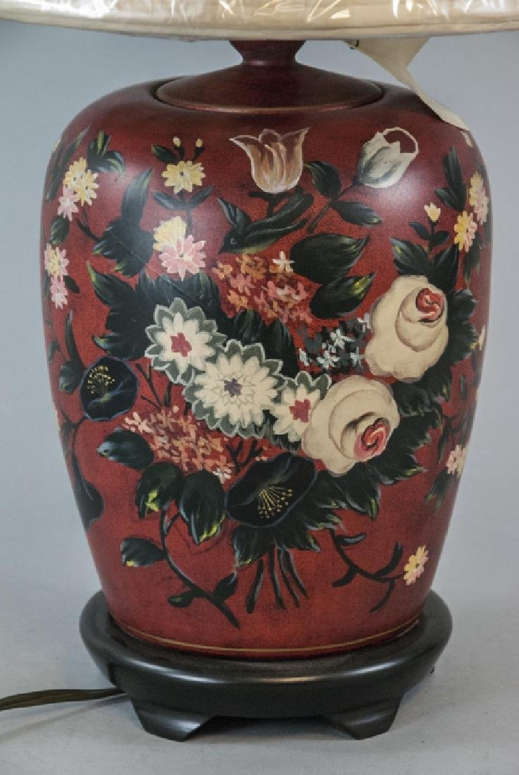 Ginger Jar Form Table Lamp W Hand Painted Motif - 3