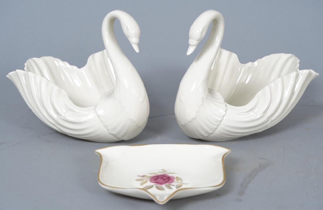 2 Lenox Porcelain Swan Form Candy Dish &  Ash Tray