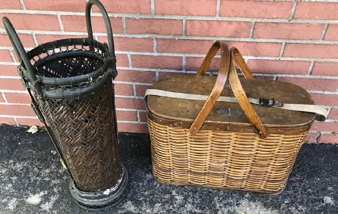 Woven Basket Umbrella Stand & Picnic Basket