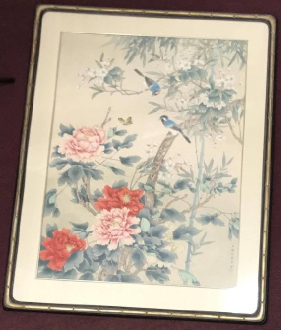 Large Framed Chinese Nature Scene Painting on Silk