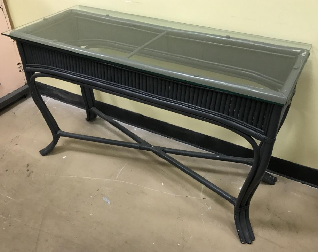 Painted Glass Top Bamboo Console Table