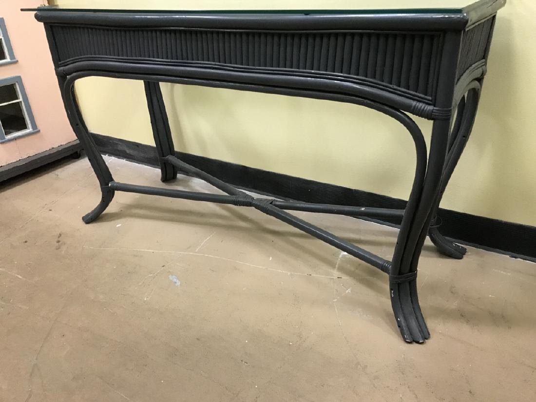 Painted Glass Top Bamboo Console Table - 2