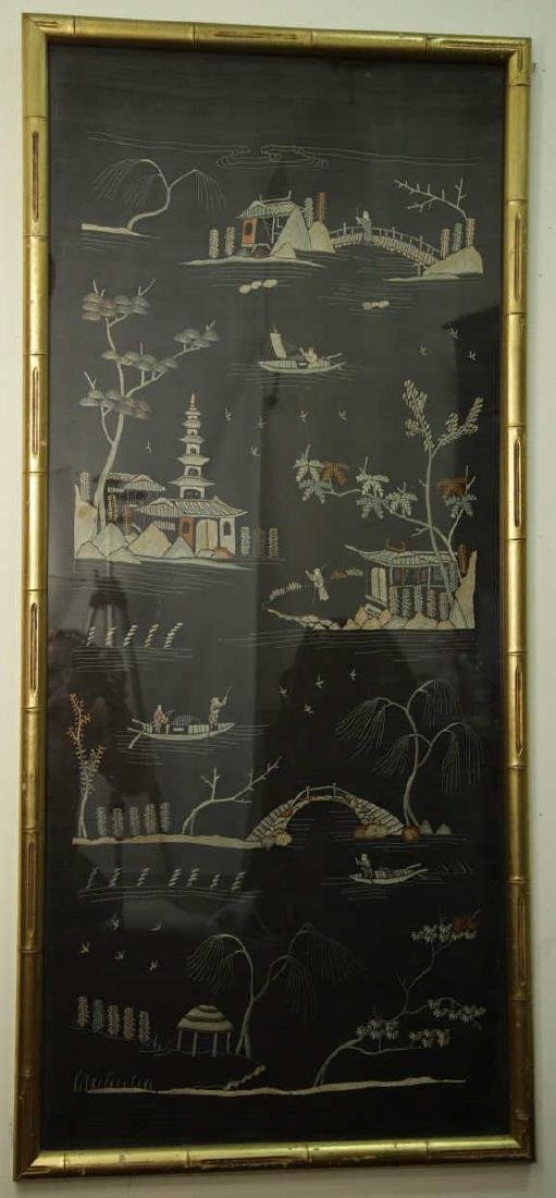 Antique Framed Chinese Silk Embroidered Panel
