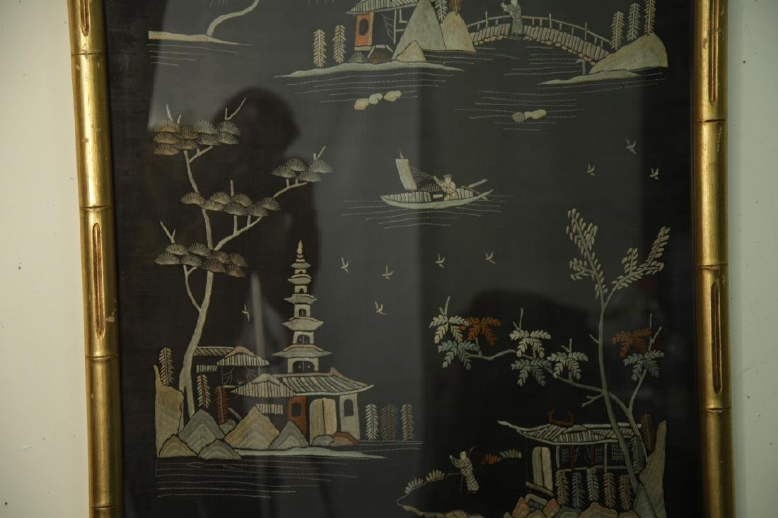 Antique Framed Chinese Silk Embroidered Panel - 3
