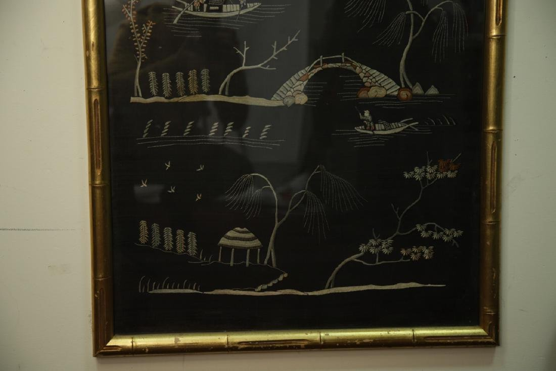 Antique Framed Chinese Silk Embroidered Panel - 5