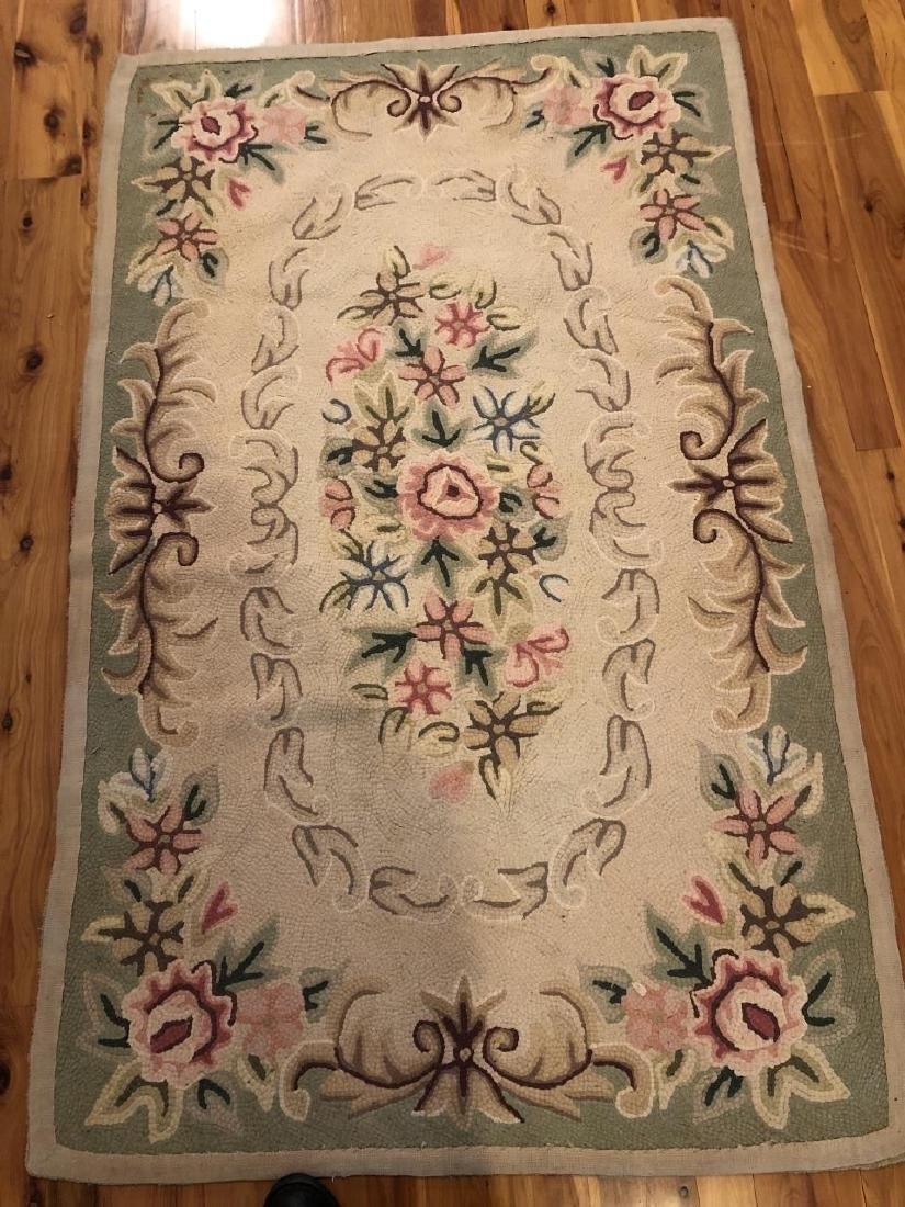 Antique Hooked Rug with Floral Motif