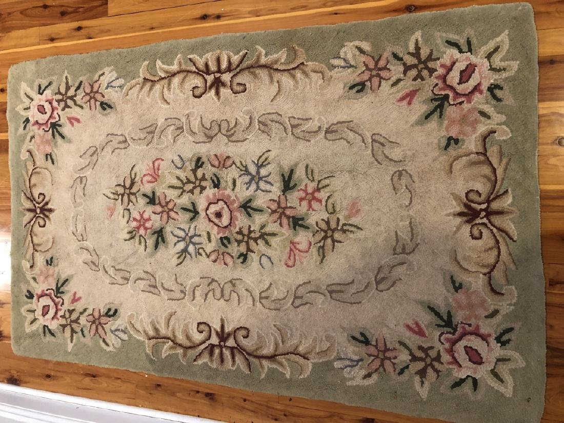 Antique Hooked Rug with Floral Motif - 2
