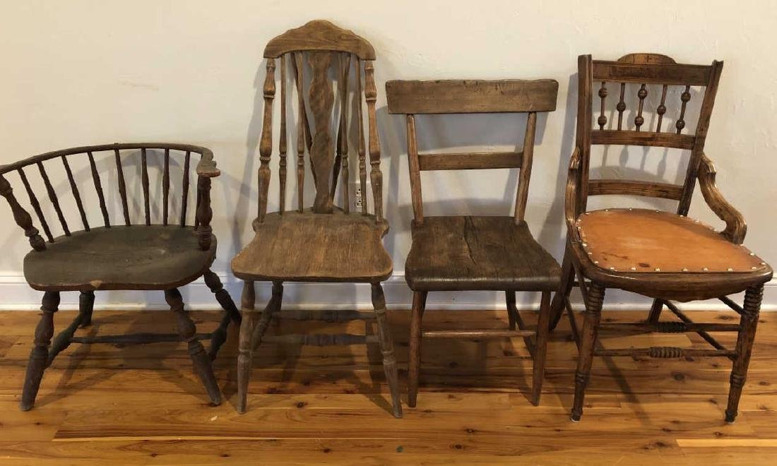 4 Antique Primitive Hand Made Wood Chairs