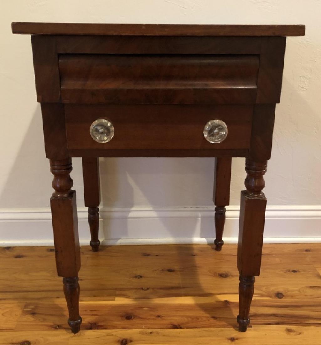 Antique Burled Wood Side Table Turned Legs
