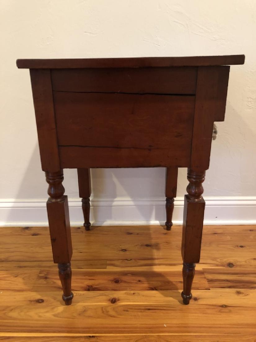 Antique Burled Wood Side Table Turned Legs - 2