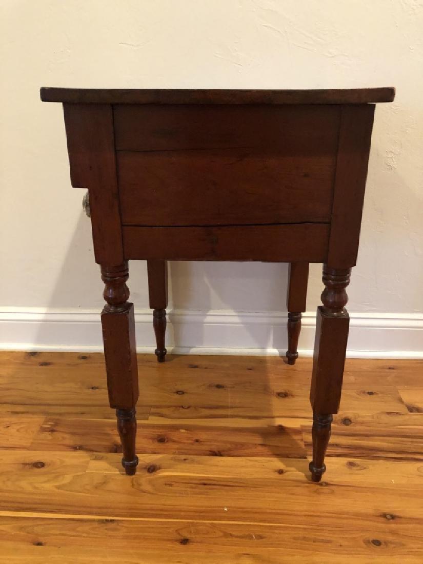 Antique Burled Wood Side Table Turned Legs - 4