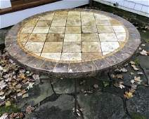 Custom Made Mosaic Tile Top Round Dining Table