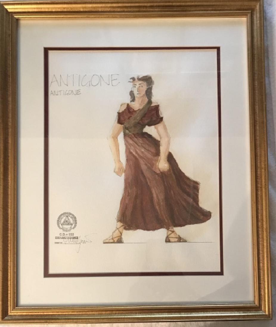 Antigone Original Costume Design Framed Drawing