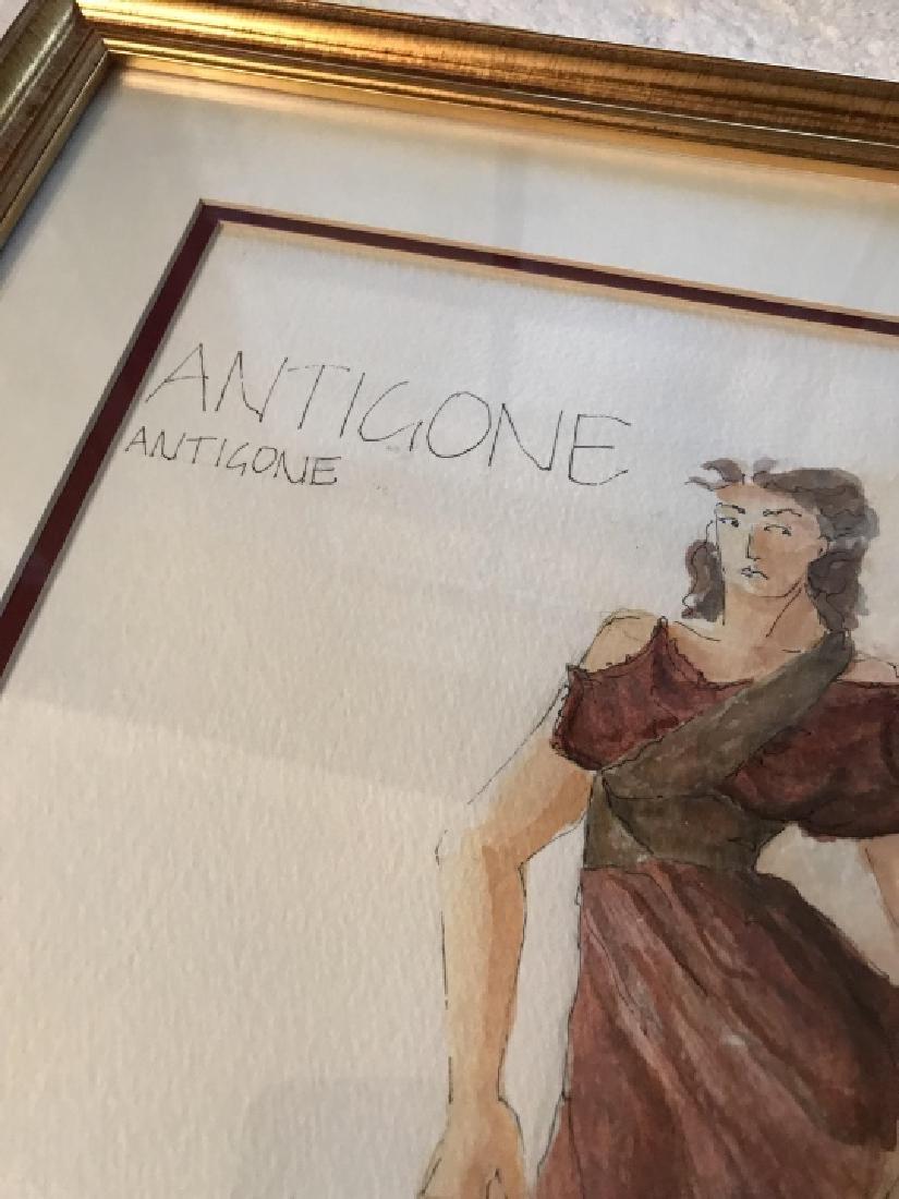Antigone Original Costume Design Framed Drawing - 2