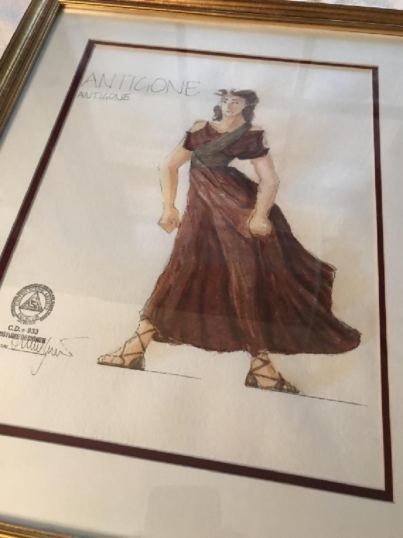 Antigone Original Costume Design Framed Drawing - 3