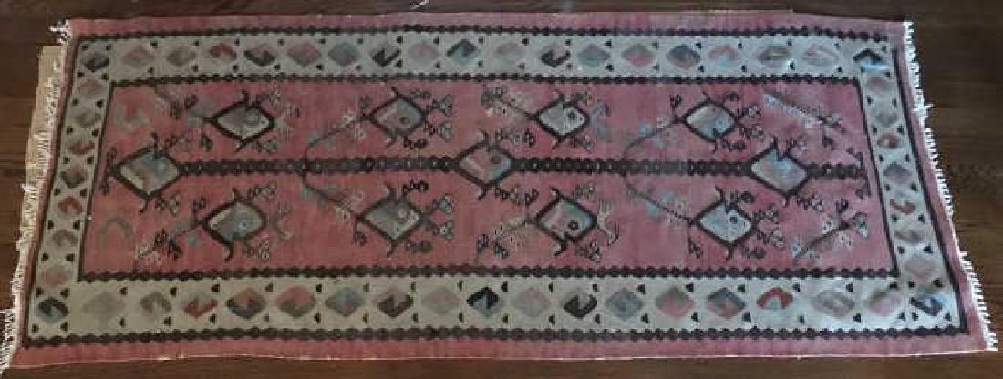 Kilim Style Tapestry Bird Motif Carpet Throw Rug