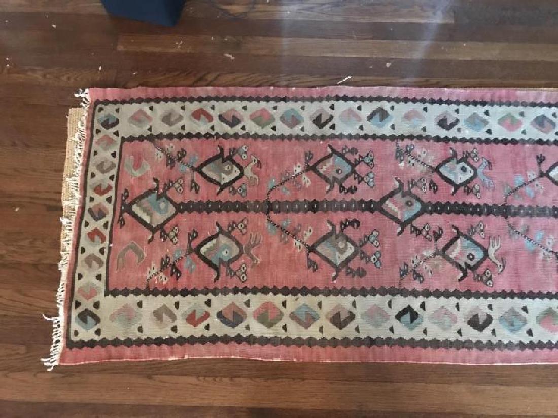 Kilim Style Tapestry Bird Motif Carpet Throw Rug - 2