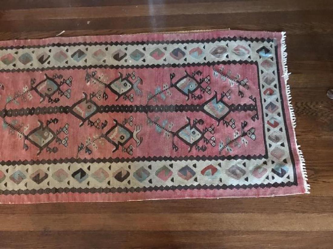 Kilim Style Tapestry Bird Motif Carpet Throw Rug - 3