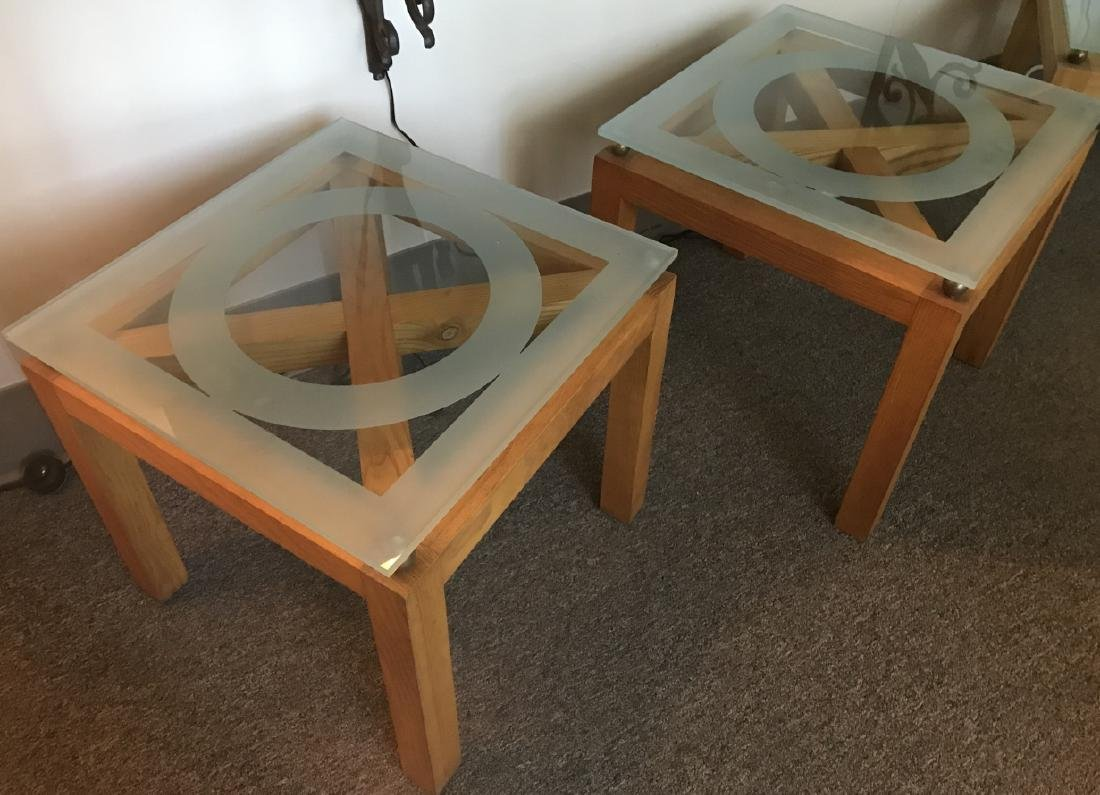 2 Custom Contemporary Glass Top Side / End Tables