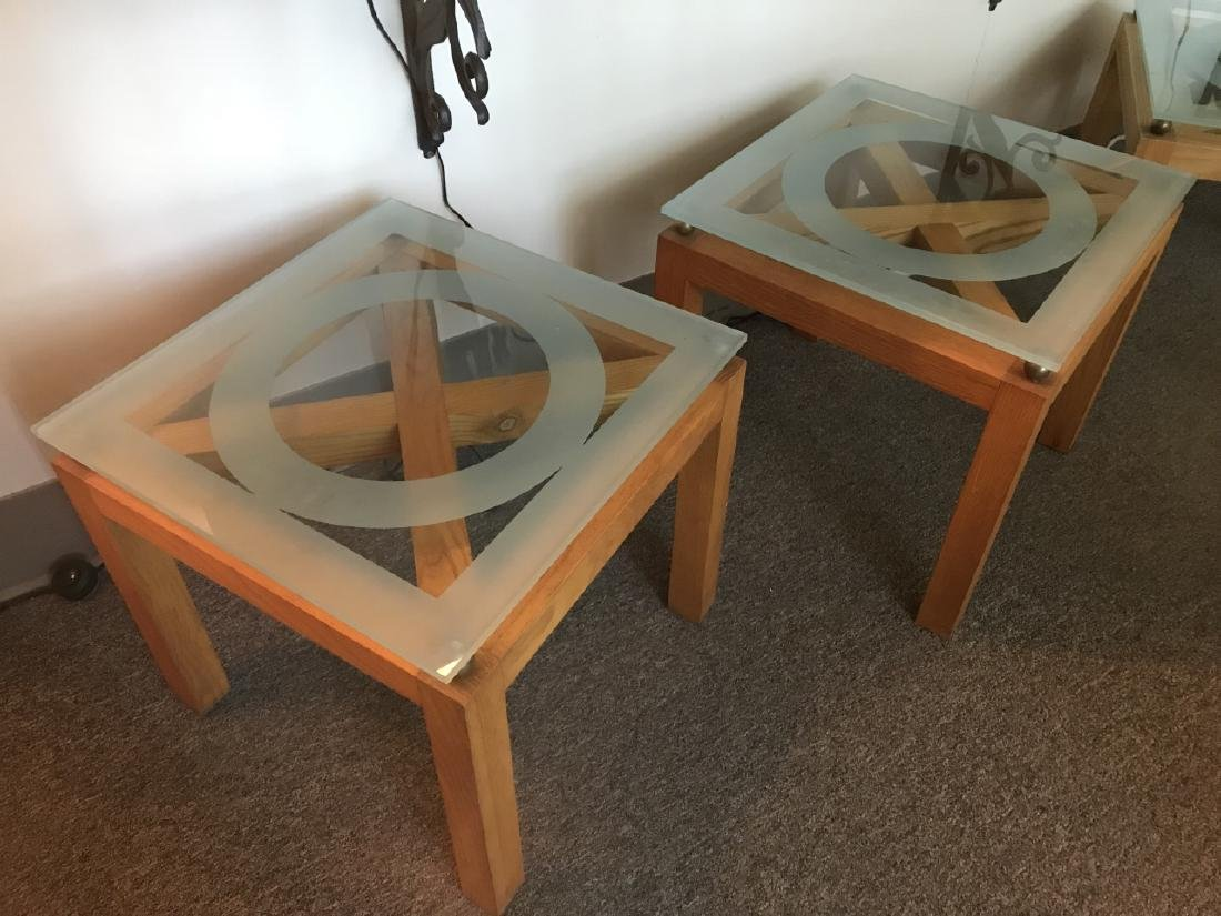 2 Custom Contemporary Glass Top Side / End Tables - 2