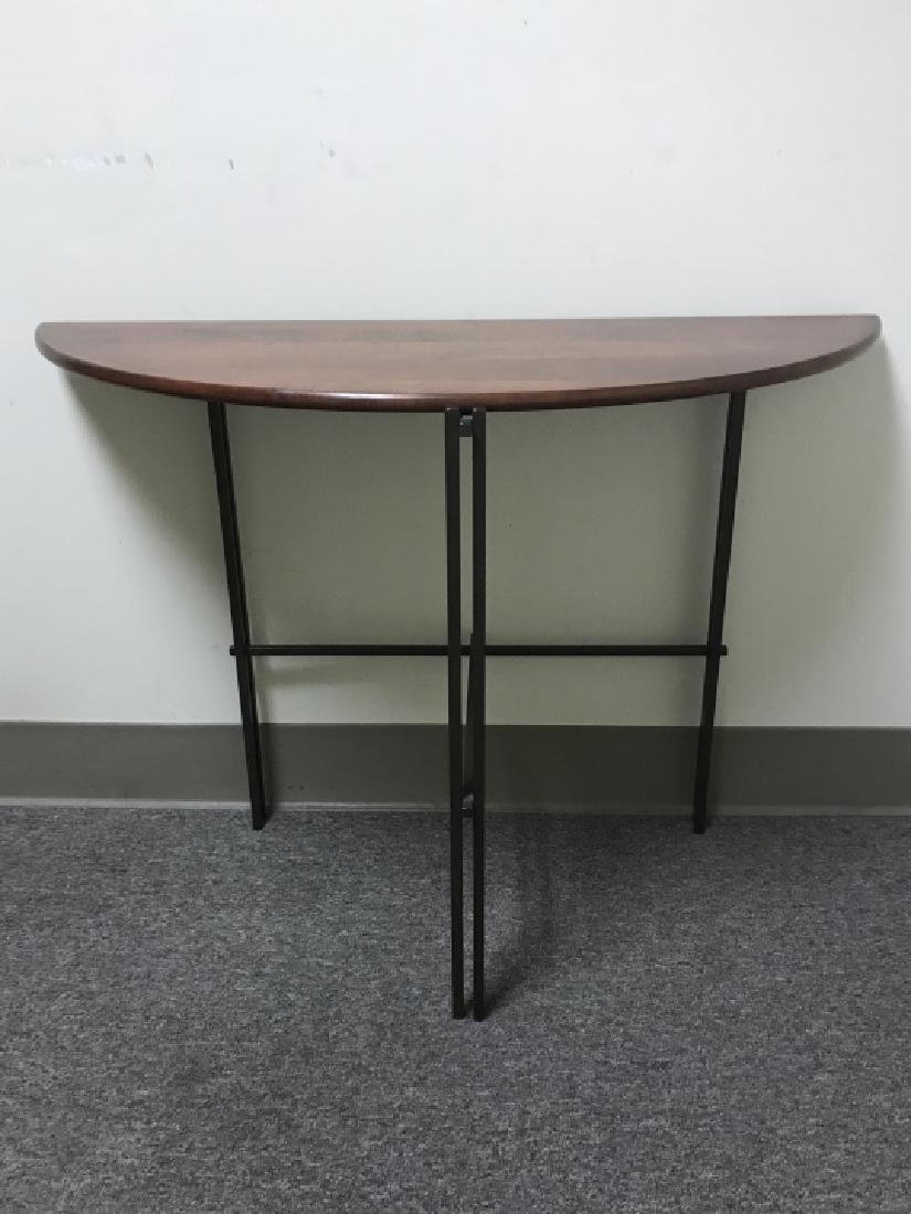 Designer Mission Style Demilune Console Table - 2