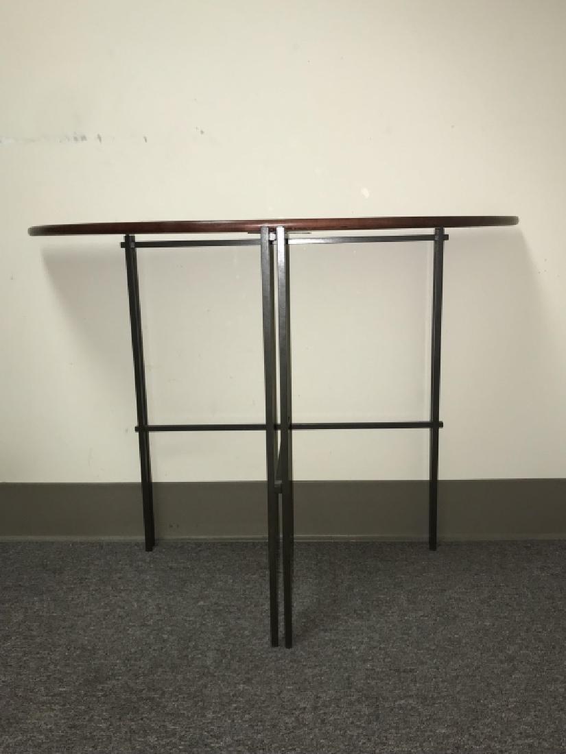 Designer Mission Style Demilune Console Table - 3