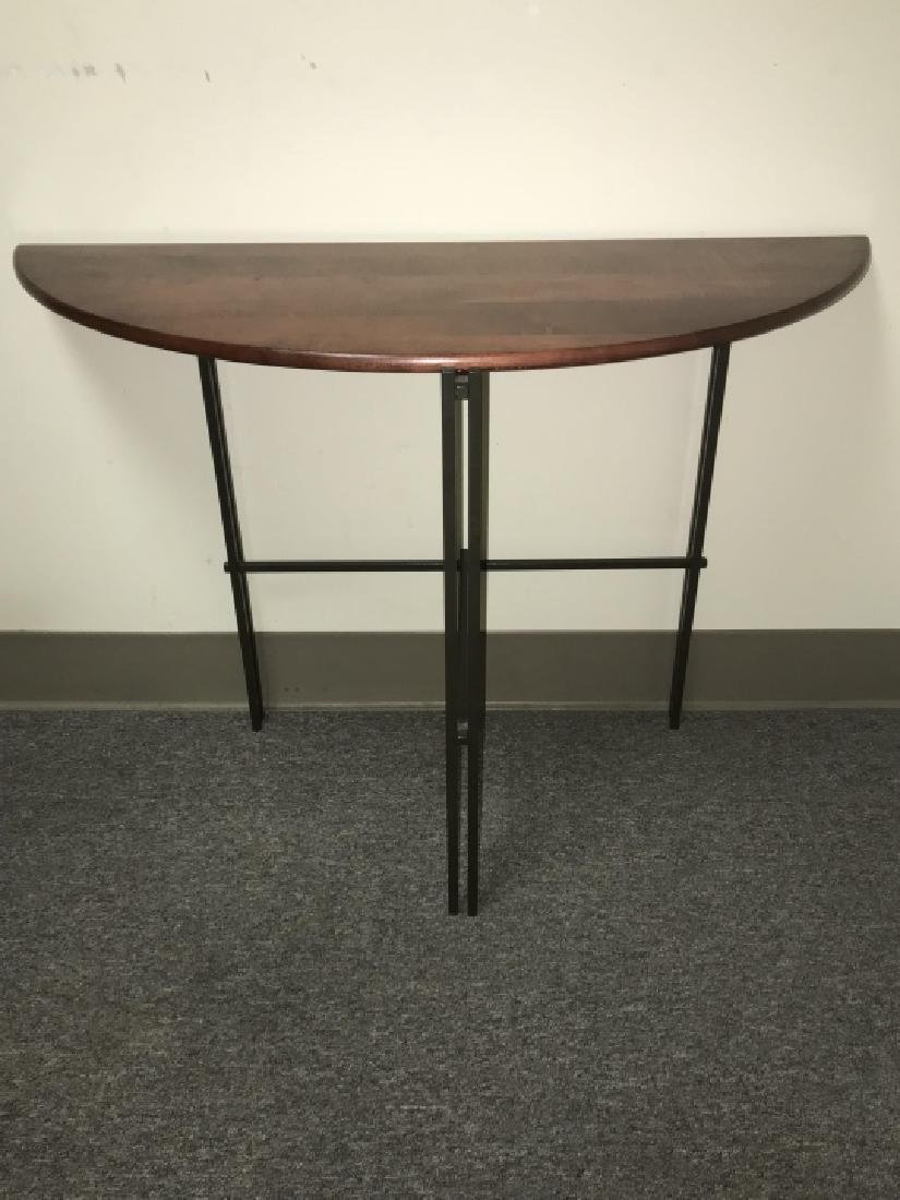 Designer Mission Style Demilune Console Table - 4