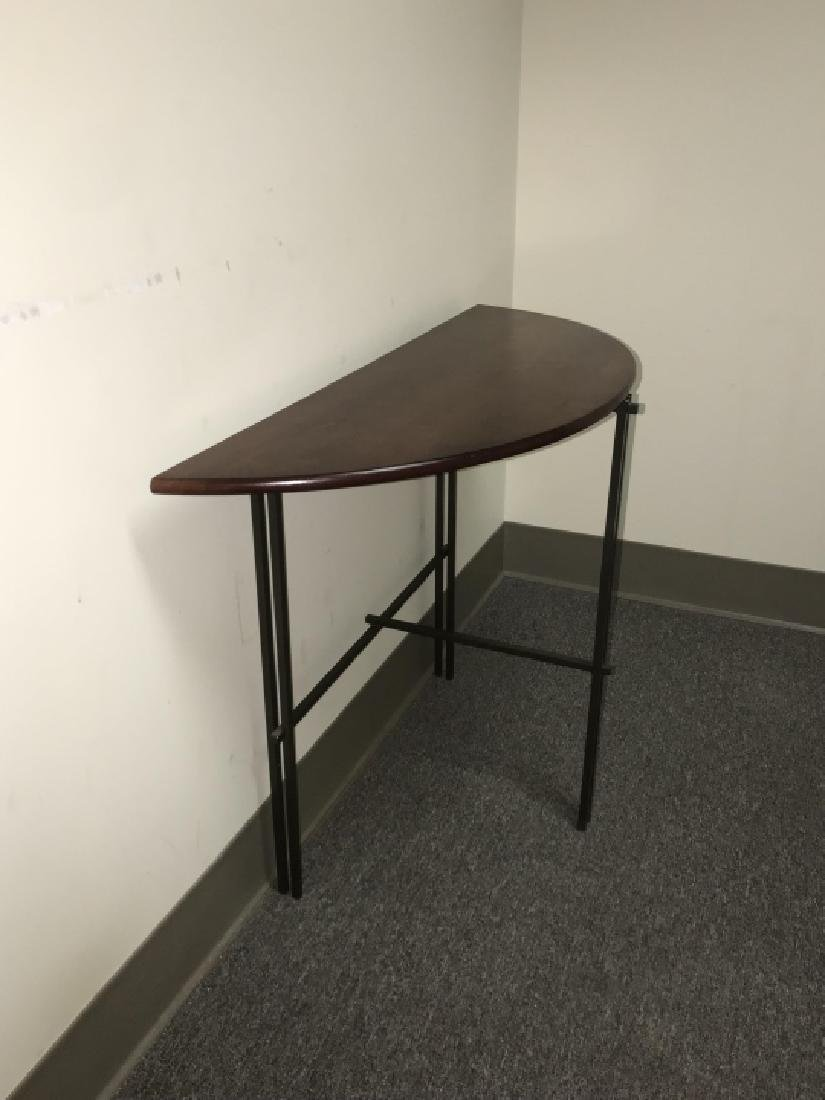 Designer Mission Style Demilune Console Table - 7