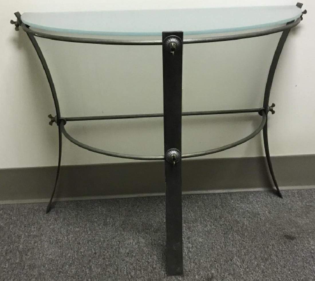 Industrial Metal & Glass Demilune Console Table