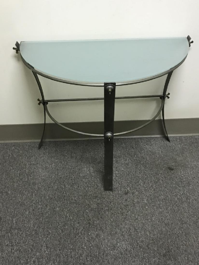 Industrial Metal & Glass Demilune Console Table - 3