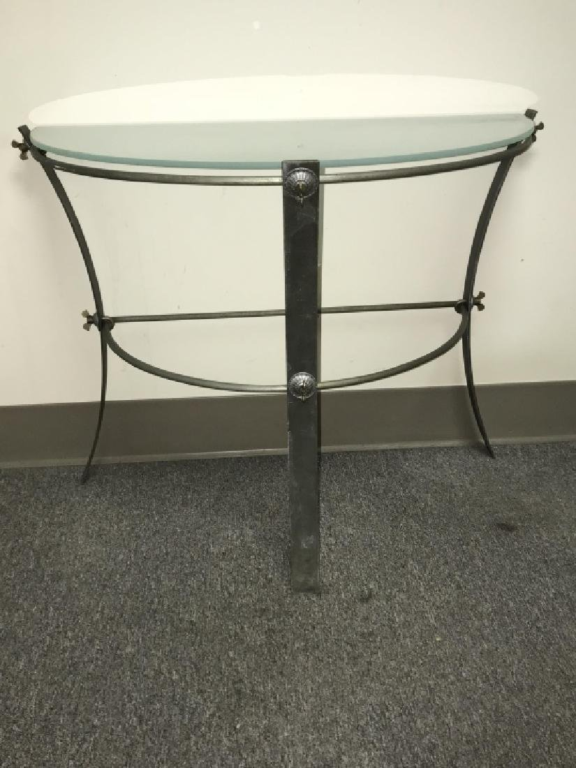 Industrial Metal & Glass Demilune Console Table - 4