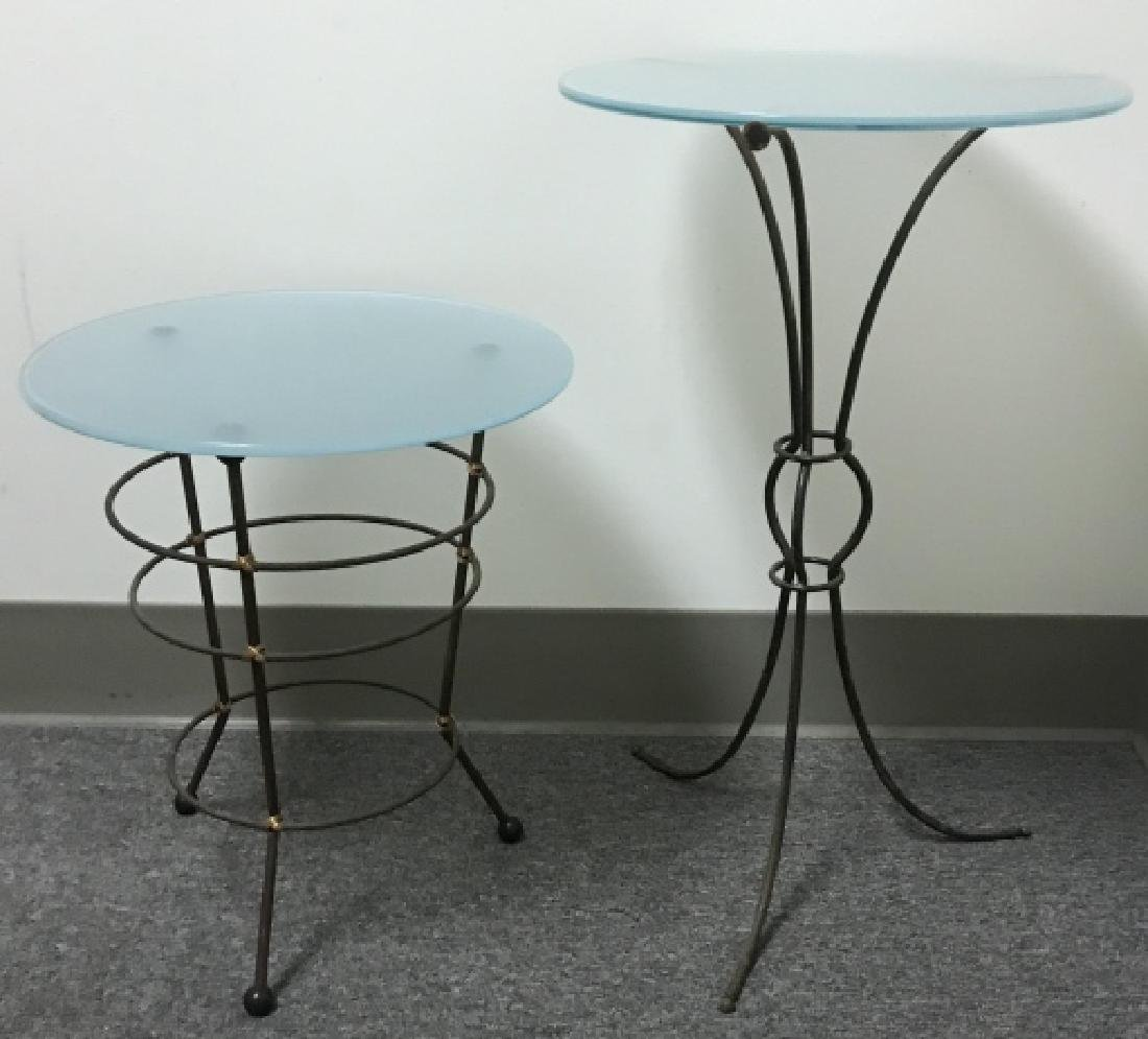 2 Contemporary Metal Base Glass Top End Tables