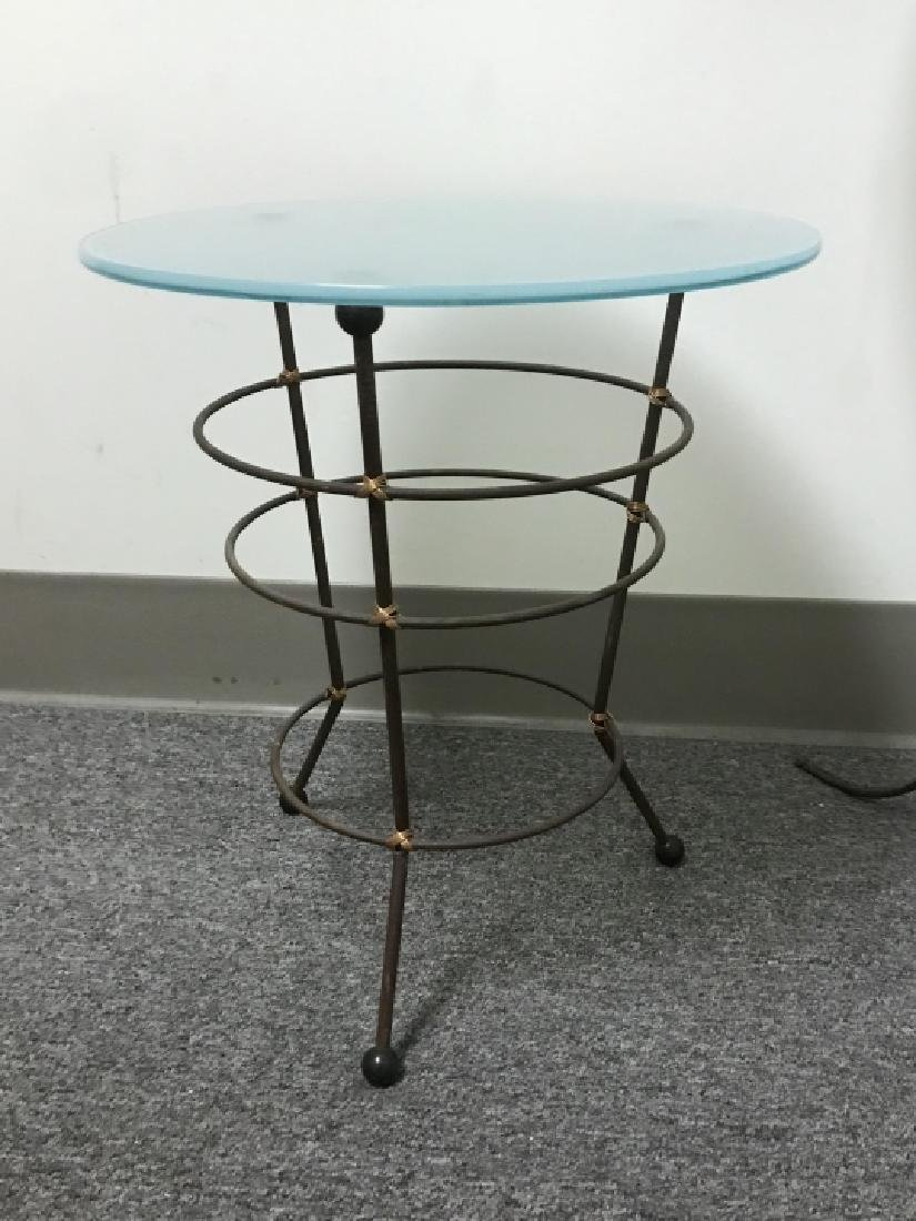 2 Contemporary Metal Base Glass Top End Tables - 2