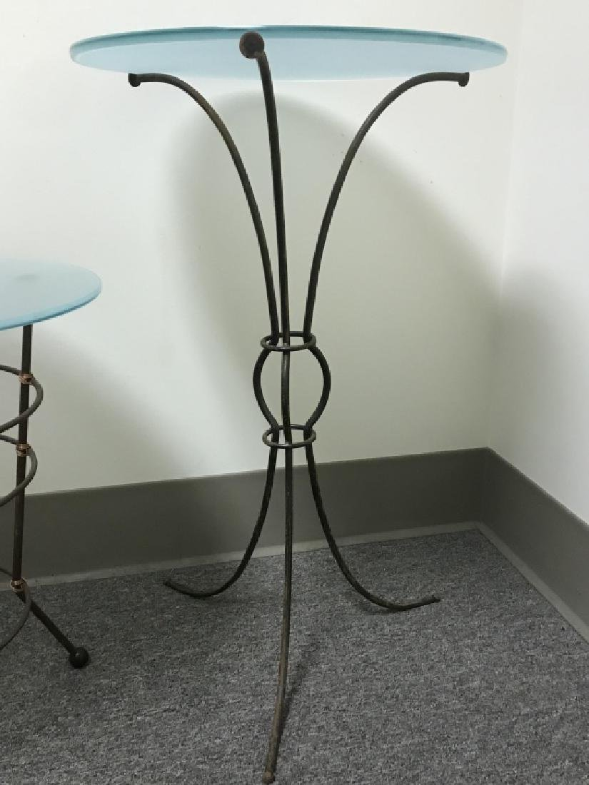 2 Contemporary Metal Base Glass Top End Tables - 3